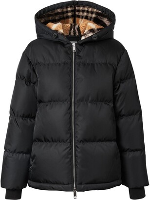 Burberry Check Fleece-Lined Puffer Jacket