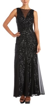 Night Way Nightway Petite Allover-Sequin Gown