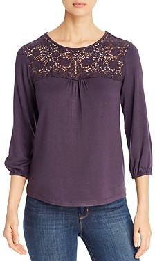 Daniel Rainn Crochet-Yoke Top