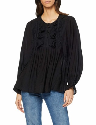 Lost Ink Women's Oversized Smock with BIB Detail Long Sleeve Top
