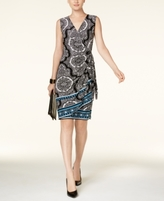 INC International Concepts Petite Mixed-Print Wrap Dress, Created for Macy's