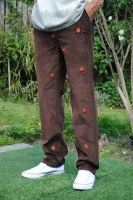 Lazy Oaf All the Apples Brown Corduroy Trousers - Brown L at Urban Outfitters