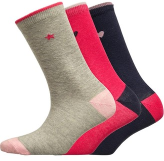 Board Angels Womens Three Pack Socks Pink/Grey/Navy