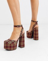 Asos Design DESIGN Punch chunky platform high block heels in black/peach/red check