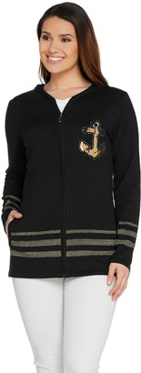 Quacker Factory Zip Front Embellished Knit Cardigan with Pockets