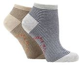 Mantaray Pack Of Two Grey Striped Trainer Socks