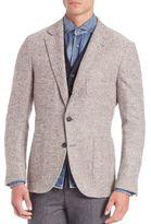 Brunello Cucinelli Virgin Wool & Cashmere Blend Herringbone Deconstructed Jacket