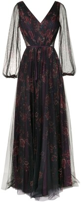 Marchesa Notte Sheer Floral Maxi Dress