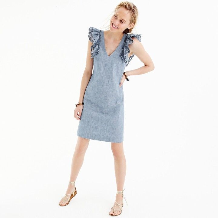 Thumbnail for your product : J.Crew Chambray ruffle-shoulder sheath dress