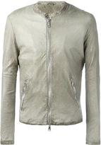 Giorgio Brato banded collar leather jacket - men - Leather/Cotton/Nylon - 48