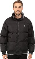 U.S. Polo Assn. Men's Puffer Jacket with Striped Rib Knit Collar