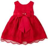 princess faith (Newborn/Infant Girls) Two-Piece Red Embroidered Mesh Dress & Bloomers Set