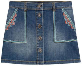 Bonpoint Kids Embroidered Denim Skirt