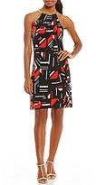 Calvin Klein Geometric Print Matte Jersey Halter Dress