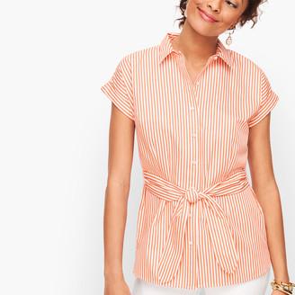 Talbots Tie Waist Button Front Stripe Shirt