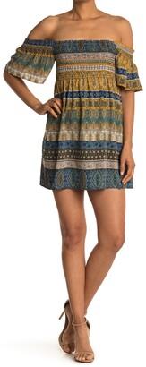 Luna Chix Paisley Off-the-Shoulder Flutter Sleeve Smocked Mini Dress