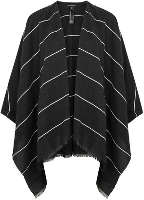 Eileen Fisher Charcoal Striped Cotton-blend Poncho