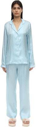 Derek Rose Brindisi Long Star Print Silk Pajama Set