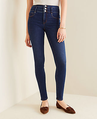 Ann Taylor Curvy Sculpting Pocket High Rise Skinny Jeans in Classic Indigo Wash
