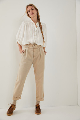 Mother Buckled Up Pleated Trousers By in Beige Size 28