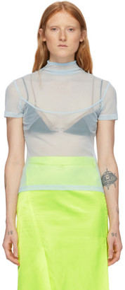 Supriya Lele Blue Mesh Short Sleeve Turtleneck