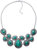 FINE JEWELRY Enhanced Turquoise Sterling Silver Bib Necklace