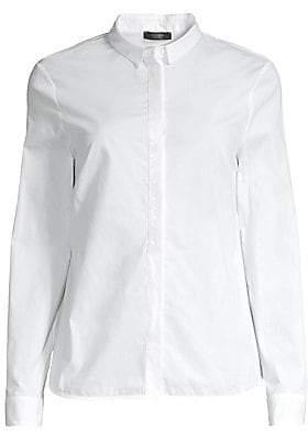 Peserico Women's Sequin-Trim Button-Front Blouse