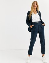 Heartbreak belted tailored pants in navy and green check
