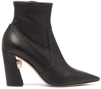 Nicholas Kirkwood Miri Faux Pearl-embellished Leather Boots - Black
