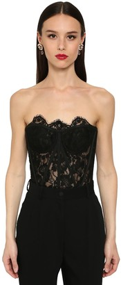Dolce & Gabbana EYELET LACE CROP BUSTIER TOP