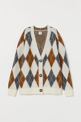 H&M Jacquard-knit Cardigan - Beige