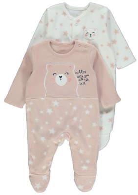 George Pink Bear Fleece Sleepsuits 2 Pack