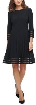Jessica Howard Petite Illusion-Trim Fit & Flare Dress