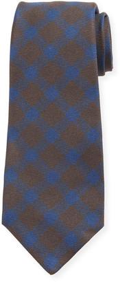 Kiton Gingham Check Silk Tie, Brown