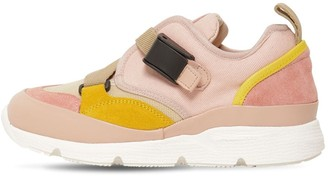 Chloé Leather & Cotton Canvas Sneakers