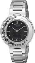 Salvatore Ferragamo Women's 'Gancino Sparkling' Quartz Stainless Steel Casual Watch, Color:Silver-Toned (Model: FF5950015)