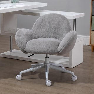 Overstock HOMCOM Faux Fur Leisure Office Chair with Mid-Back Wide Design, Adjustable Seat Height, and Steel Swivel Wheels