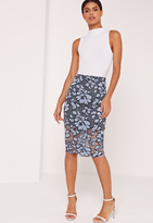 Missguided Contrast Floral Lace Midi Skirt Blue