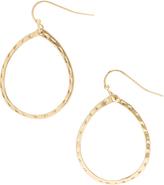 Carole Goldtone Hammered Teardrop Drop Earrings