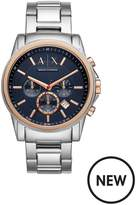 Armani Exchange AX2516 Blue And Rose Gold Detail Chronograph Dial Stainless Steel Bracelet Mens Watch
