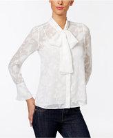 MICHAEL Michael Kors Floral Jacquard Tie-Neck Top