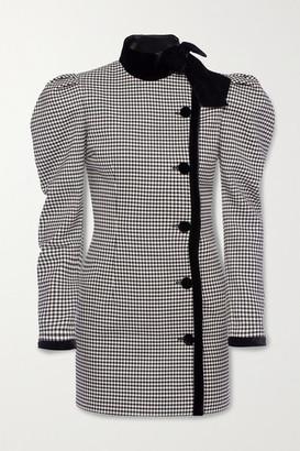 Alessandra Rich Velvet-trimmed Checked Wool-blend Mini Dress - Black