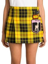 Miu Miu Pleated Tartan Wool Patched Mini Skirt