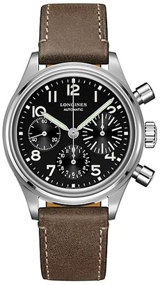 Longines Avigation BigEye Chronograph Stainless Steel Leather-Strap Watch