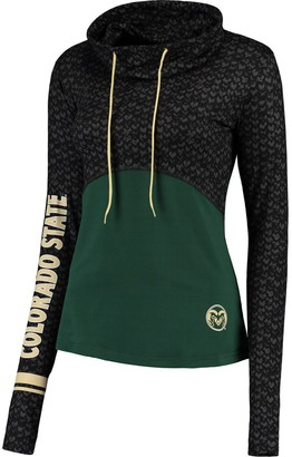 Colosseum Women's Black/Green Colorado State Rams Scaled Cowl Neck Pullover Hoodie