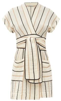 Three Graces London Aurora Striped Cotton Mini Dress - Yellow Stripe