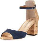 Neiman Marcus Brackston Suede City Sandal, Blue