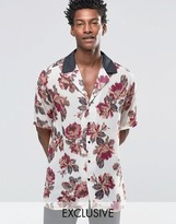 Reclaimed Vintage Revere Shirt In Floral Print And Reg Fit