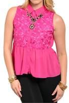 Bellezza Boutique Plus-Sized Pink Chiffon Top