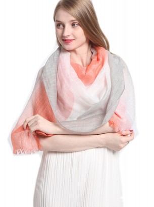 Prettystern Cashmere Silk linen mixed light pashmina scarf in Tie-Dye colors orange